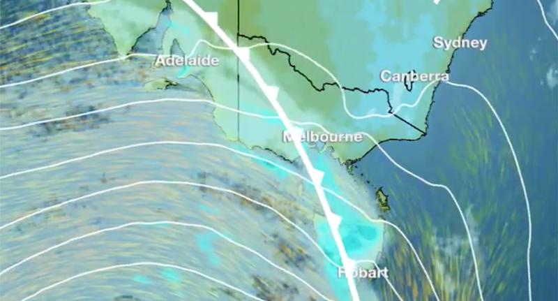 Bureau of Meterology image showing Melbourne and Hobart hit by a cold front.