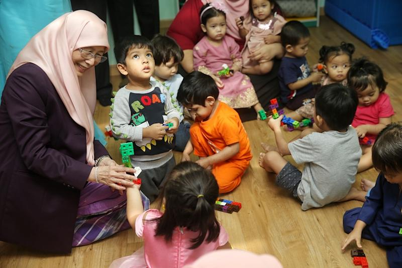 Deputy Prime Minister Datuk Seri Dr Wan Azizah Wan Ismail speaks to the children at the Child Care Centre in the Parliament building, Kuala Lumpur February 7, 2020. — Picture by Choo Choy May