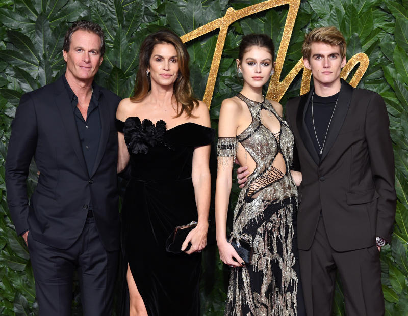 Rande Gerber, Cindy Crawford, Kaia Gerber and Presley Gerber arrive at The Fashion Awards 2018 In Partnership With Swarovski at Royal Albert Hall