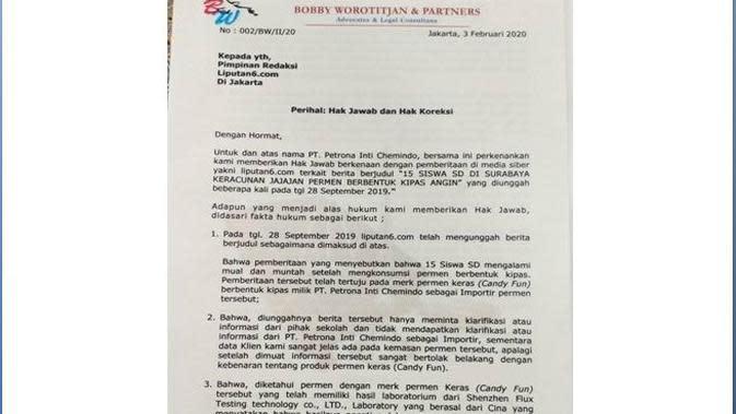 Hak Jawab PT Petrona Intl Chemindo Atas Pemberitaan Permen Berbentuk Kipas Angin