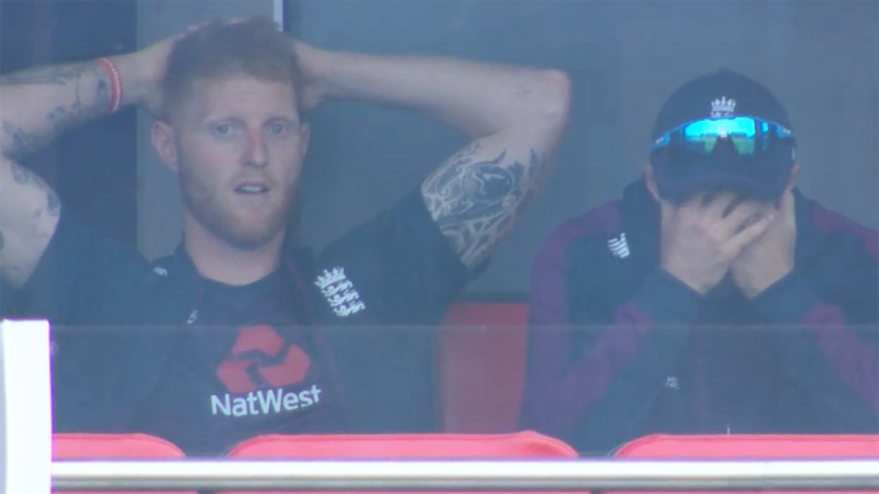 Ben Stokes and Joe Root, pictured here reacting to the umpiring farce.