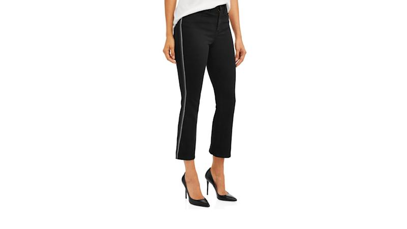 Mayra Lurex Side Stripe High Waist Crop Flare Jean. (Photo: Walmart)