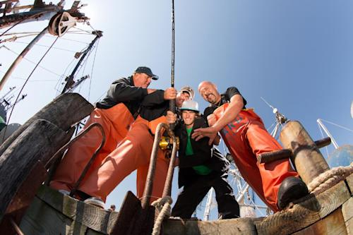 "This publicity image released by the National Geographic Channel shows the four of the captains from the series, ""Wicked Tuna,"" posing on a pier in Gloucester, Mass. The channel faces the challenge of trying to build a successful network in the era of Honey Boo-Boo and ""Duck Dynasty"" without damaging a National Geographic brand that has stood for quality since the magazine was first published in 1888. The first three months of 2013 was the network's most popular quarter since its launch in 2001. The National Geographic Channel averaged 554,000 viewers in prime time, propelled by ""Doomsday Preppers,"" the ""Wicked Tuna"" series about fishermen in Gloucester, Mass., and a movie dramatization of Bill O'Reilly's book, ""Killing Lincoln."" (AP Photo/National Geographic Channel)"
