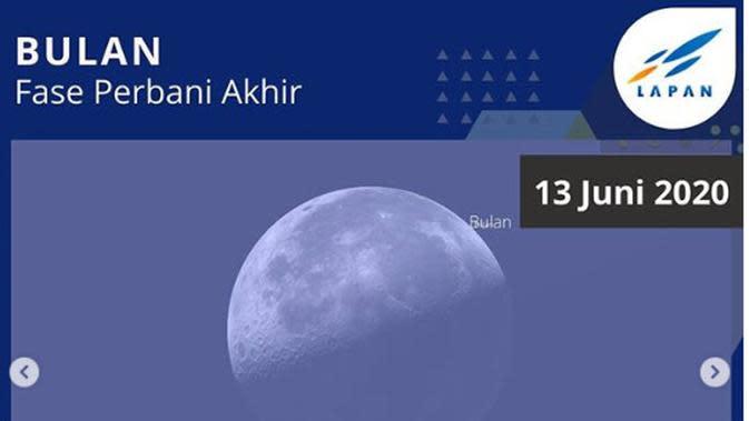 13 Juni : Bulan pada Fase Perbani Akhir. (Stellarium)