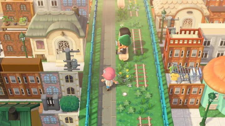 A screenshot of an overgrown bridge overlooking buildings in Animal Crossing: New Horizons