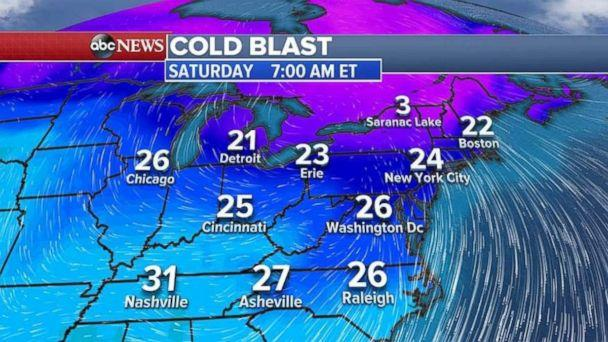 Record lows could fall in the Northeast on Nov. 11, 2017. (ABC NEWS)