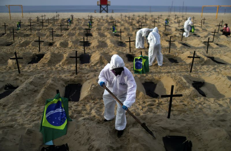 Graves dug in Rio beach to protest handling of COVID-19 pandemic