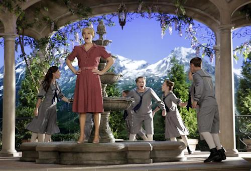 "This image released by NBC shows Carrie Underwood, foreground, as Maria, during preparations for ""The Sound of Music Live!, in Bethpage, N.Y. The live production airs on Dec. 5 at 8 p.m. EST. (AP Photo/NBC, Paul Drinkwater)"