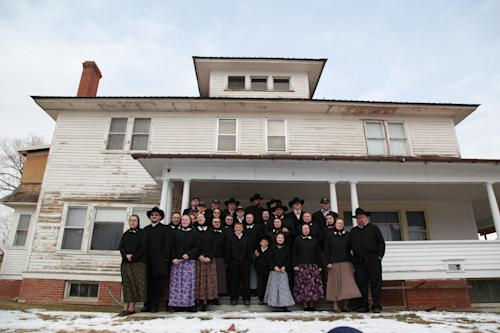 "This undated image released by National Geographic Channels shows a Hutterite family in Lewistown, Mont. ""Meet the Hutterites,"" is a National Geographic documentary series about a small religious colony in rural Montana. (AP Photo/National Georgraphic, Ben Shank)"