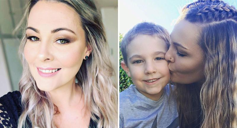 Queensland mother paraplegic after sharing make up brush shown after recovery with son, Tommy.