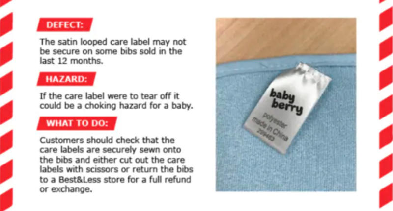 Product recall: Best & Less baby bibs recalled amid choking hazard fears.
