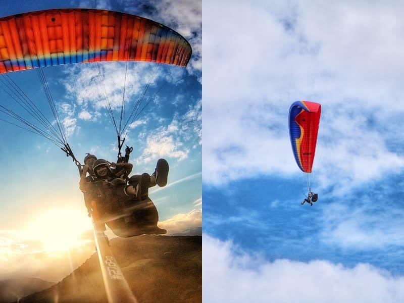 搭上滑翔傘 空中自由遨遊