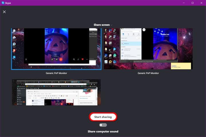 Skype Start Sharing Screen Button