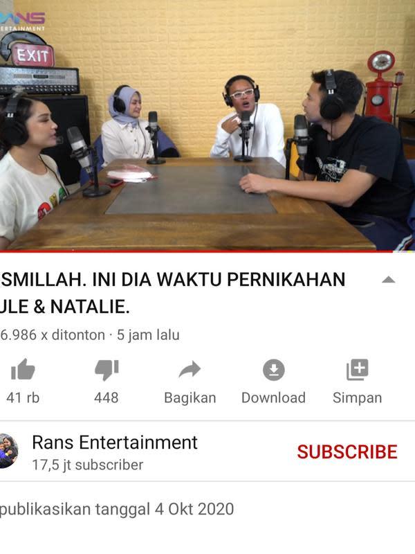 Unggahan Raffi Ahmad. (Foto: YouTube RANS Entertainment)