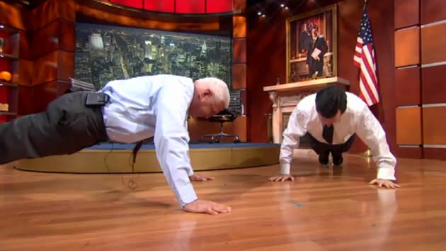 Stephen Colbert challenges Bob Lutz, 80, to pushup contest; outcome never in doubt