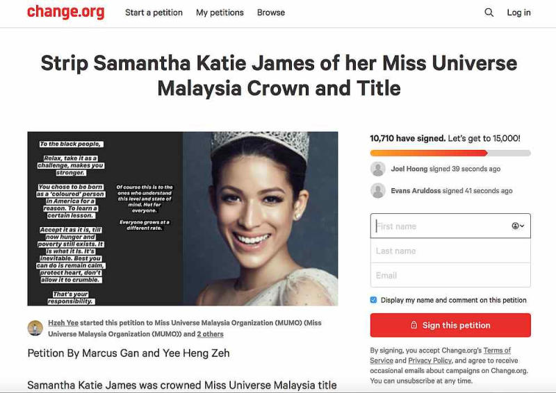 More than 10,000 people have signed a petition demanding James to be stripped of her Miss Universe Malaysia title. — Screengrab from Change.org