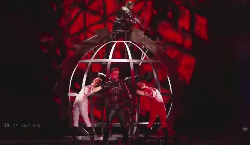 Iceland's Hatari performs at Eurovision 2019 in Tel Aviv