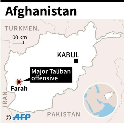 Map of Afghanistan locating Farah