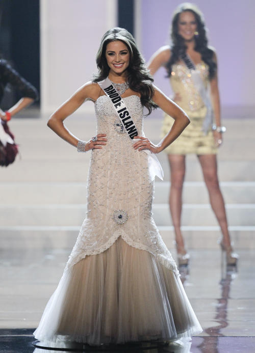 Miss Rhode Island Olivia Culpo poses as she is named one of the 16 finalists during the 2012 Miss USA pageant, Sunday, June 3, 2012, in Las Vegas. (AP Photo/Julie Jacobson)