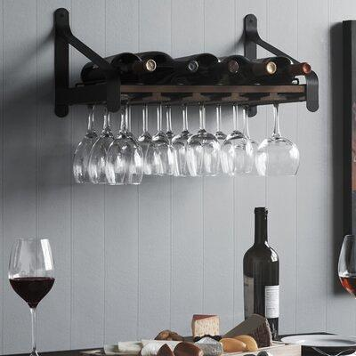 Welwick Designs Dark Walnut Wood And Metal Bar Cabinet With Wine Bottle Storage Yahoo Shopping