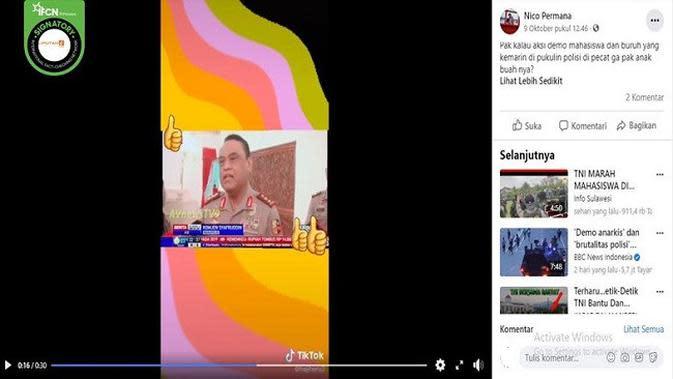 Gambar Tangkapan Layar Video Pernyataan Wakapolri Komjen Syafruddin (sumber: Facebook)
