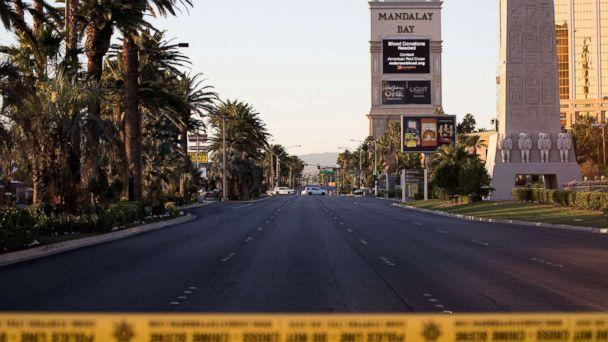 PHOTO: Las Vegas Blvd. remained closed to vehicular traffic, Oct. 3, 2017, near the scene of Sunday night's mass shooting in Las Vegas, Nevada. (Drew Angerer/Getty Images)