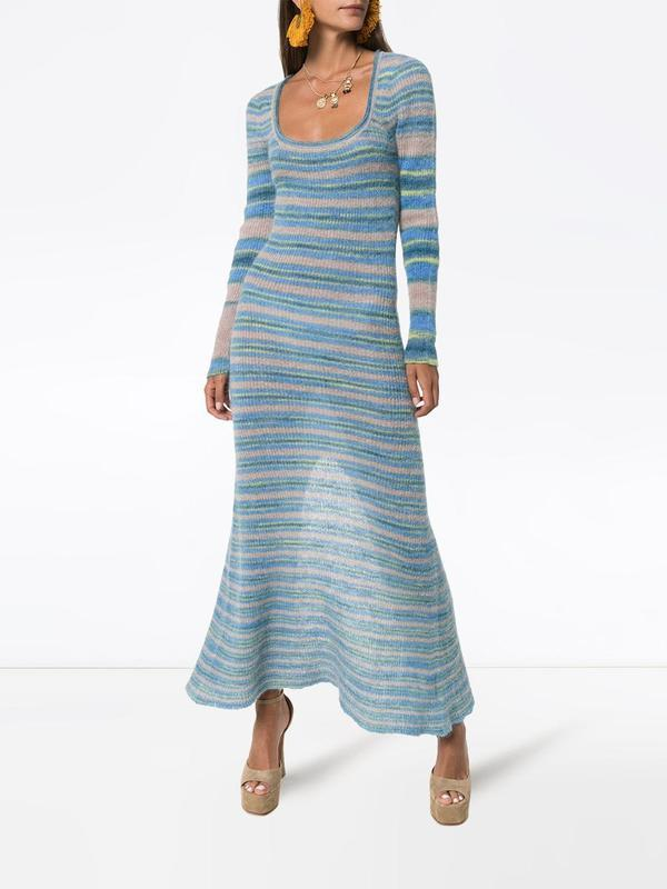 Tren Dress 2020 (https://www.farfetch.com/shopping/women/jacquemus-striped-knit-maxi-dress-item-14084285.aspx)
