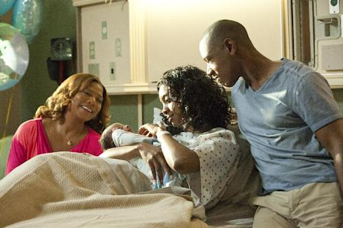 """This undated image released by Lifetime shows Queen Latifah as M'Lynn, from left, Condola Rashad as Shelby and Tory Kittles as Jackson in a scene from the Lifetime Original Movie, """"Steel Magnolias,"""" premiering Sunday, Oct. 7, at 9pm on Lifetime. (AP Photo/Lifetime, Annette Brown)"""