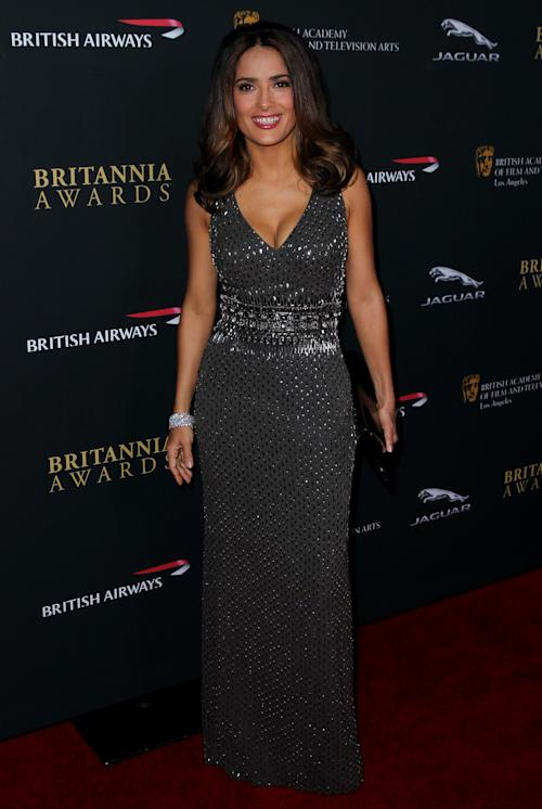 Salma Hayek arrives at the 2013 BAFTA Los Angeles Britannia Awards at the Beverly Hilton Hotel on Saturday, Nov. 9, 2013 in Beverly Hills, Calif. (Photo by Matt Sayles/Invision/AP)