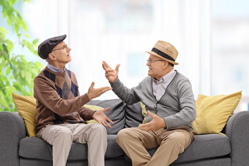 two men trash talking each other, new words coined