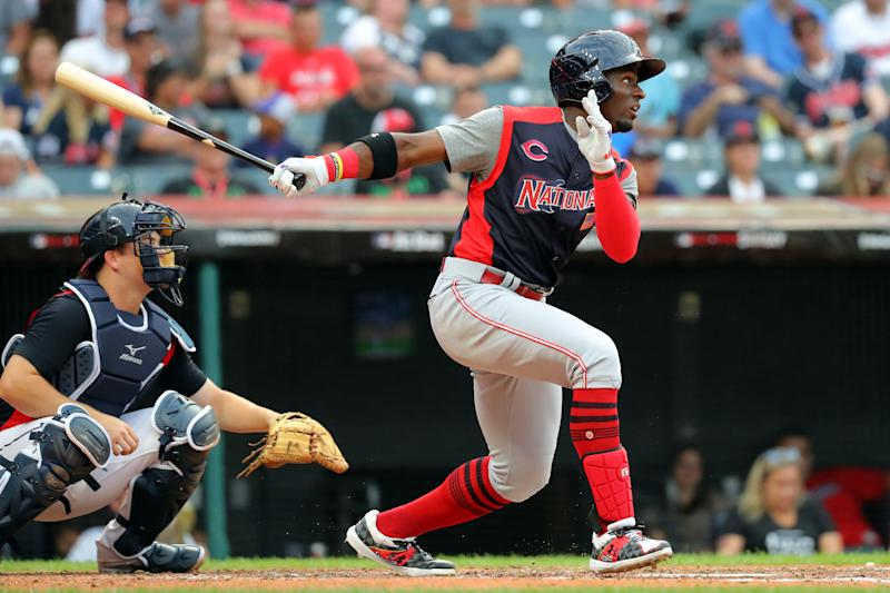CLEVELAND, OH - JULY 07: Taylor Trammell #7 of the National League Futures Team singles in the fourth inning during the SiriusXM All-Star Futures Game at Progressive Field on Sunday, July 7, 2019 in Cleveland, Ohio. (Photo by Alex Trautwig/MLB Photos via Getty Images)