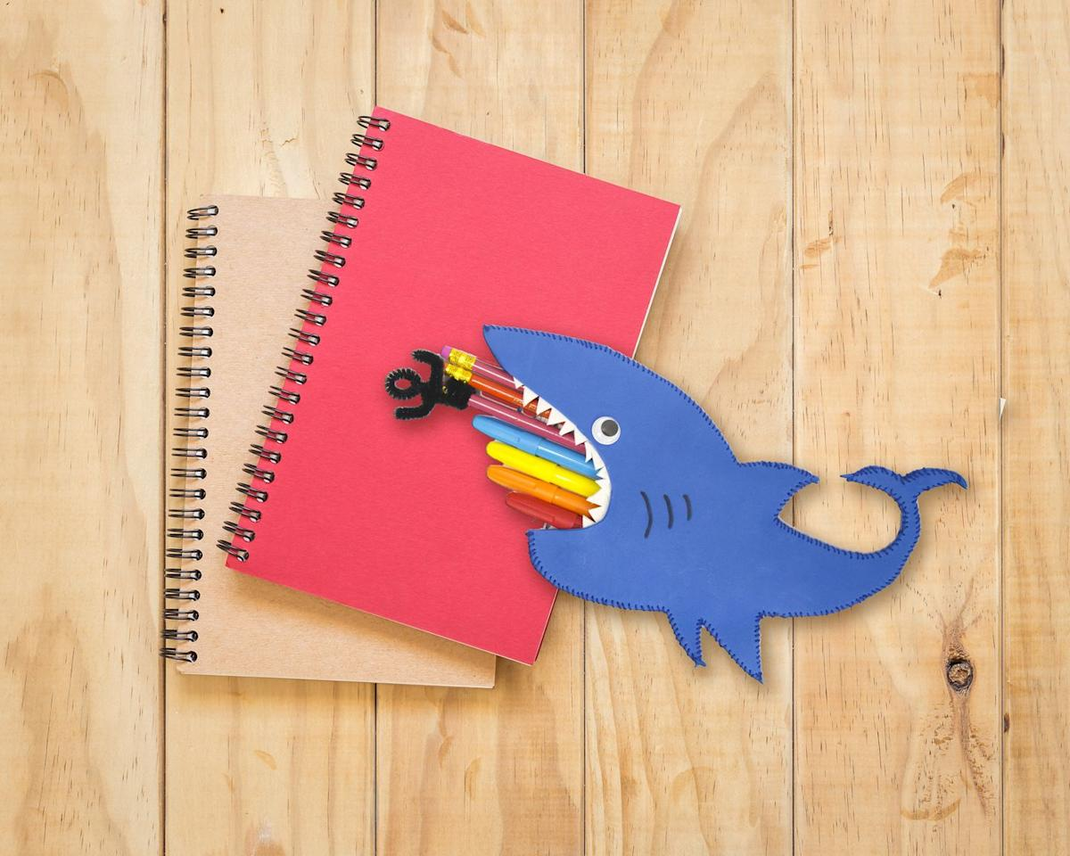 """<p>Take a bite out of disorganization with this sharky foam pencil case, which turns every week into Shark Week.</p><p><em><a href=""""https://www.craftprojectideas.com/shark-pencil-case/"""" target=""""_blank"""">Get the tutorial at Craft Project Ideas »</a> </em></p>"""