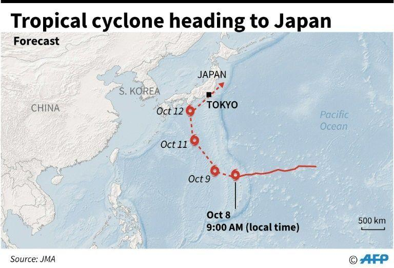 A map, pictured here showing the forecast track of a cyclone moving towards Japan.