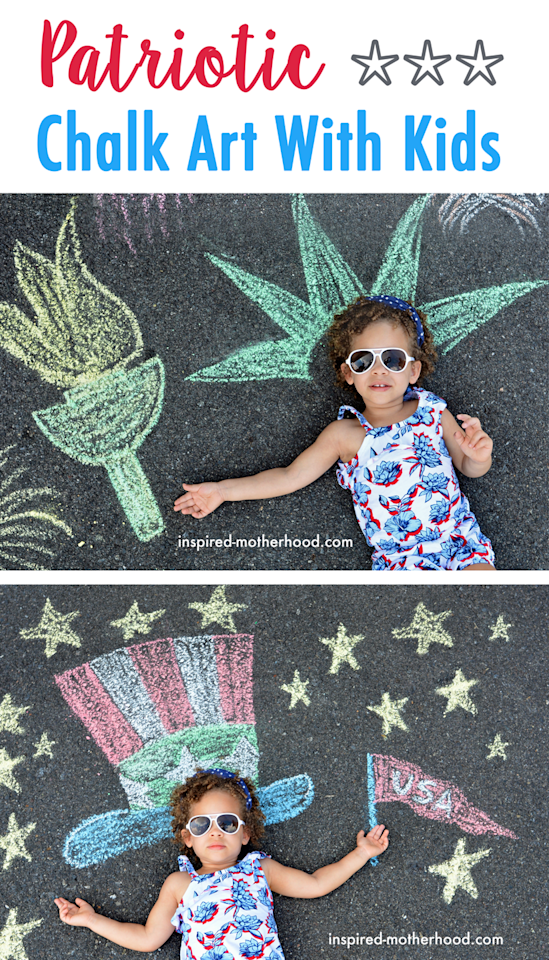 """<p>Create a patriotic chalk art look any time of year (not just for Independence Day!) with red, white, and blue chalk art nodding to Uncle Sam, the Statue of Liberty — and plenty of golden stars, of course.</p><p><em><a href=""""https://inspired-motherhood.com/kids-celebrate-4th-of-july/"""" target=""""_blank"""">Get the tutorial from Inspired Motherhood »</a></em></p>"""