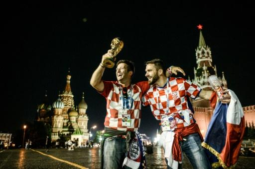 Croatia fans celebrate their team's World Cup semi-final victory against England in Moscow
