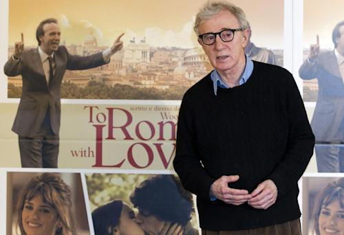"FILE - In this April 13, 2012 file photo, director and actor Woody Allen poses during the photo call of the movie ""To Rome with Love,"" in Rome. Allen will receive the 2014 Cecil B. DeMille Award, the Hollywood Foreign Press Association said Friday. The 71st annual Golden Globe ceremony is set for Jan. 12, 2014. (AP Photo/Andrew Medichini, File)"