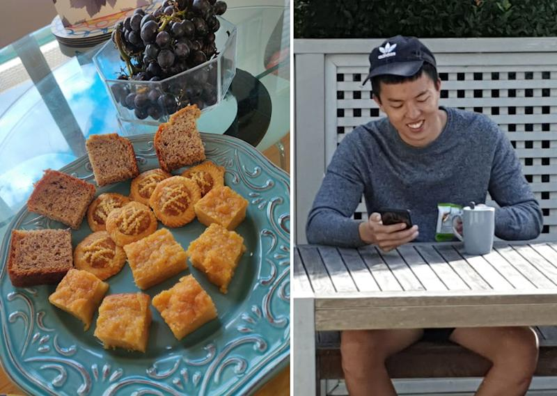 Wee made afternoon tea — including 'kueh bingka' and Nyonya pineapple tarts — to offer Ho a taste of much-missed Malaysia (left). Ho out at Wee's front deck, catching up with family and friends back in Malaysia (right).