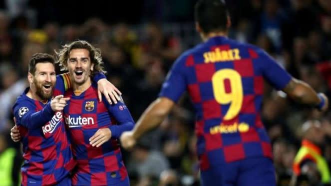 Trio penyerang Barcelona, Lionel Messi, Luis Suarez, dan Antoine Griezmann