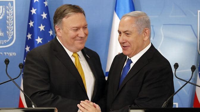 Menteri Luar Negeri AS Mike Pompeo dan Perdana Menteri Israel Benjamin Netanyahu (Thomas Coex, AFP via AP)