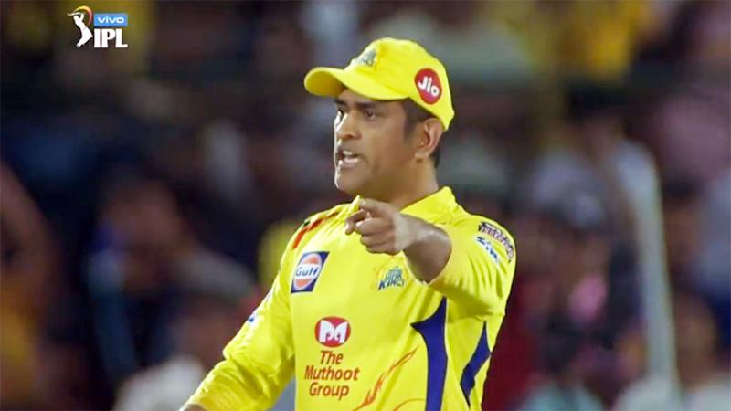 Dhoni was furious with a controversial call in the last over. Pic IPLMore