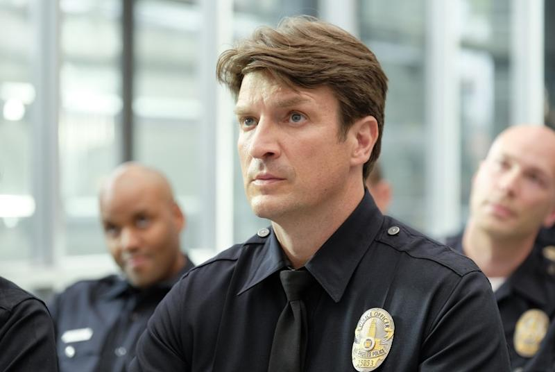 """THE ROOKIE - """"Pilot"""" Nathan Fillion in the premiere episode of """"The Rookie,"""" airing TUESDAY, OCT. 16 (10:00-11:00 p.m. EDT), on The ABC Television Network. (ABC/Tony Rivetti)"""
