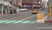 台中大甲火車站 防撞桿前劃斑馬線