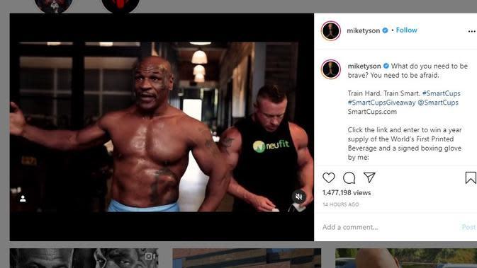 Mike Tyson terus mempersiapkan diri menghadapi duel amal melawan Roy Jones Jr (Instagram)