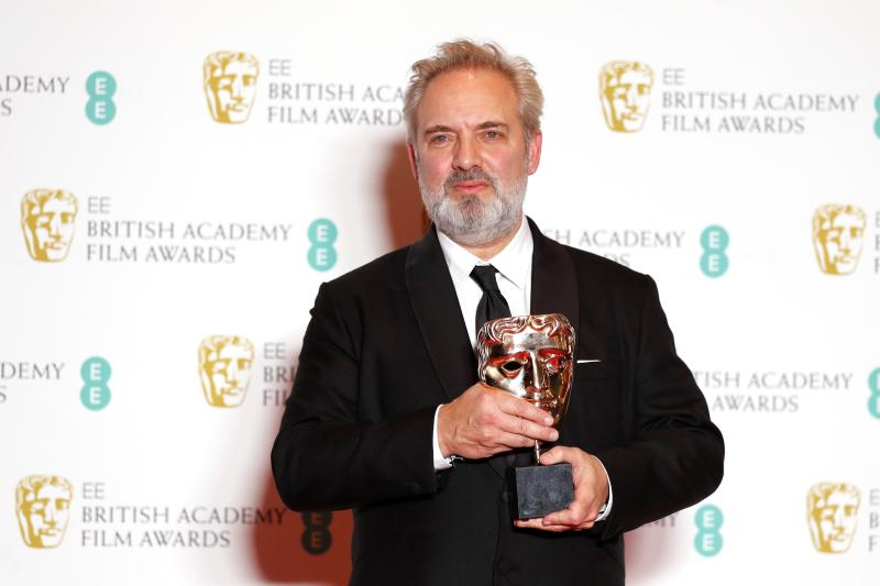 Sam Mendes poses with the award for Best Director for his work on the film '1917' at the BAFTA British Academy Film Awards. (Photo by ADRIAN DENNIS/AFP via Getty Images)