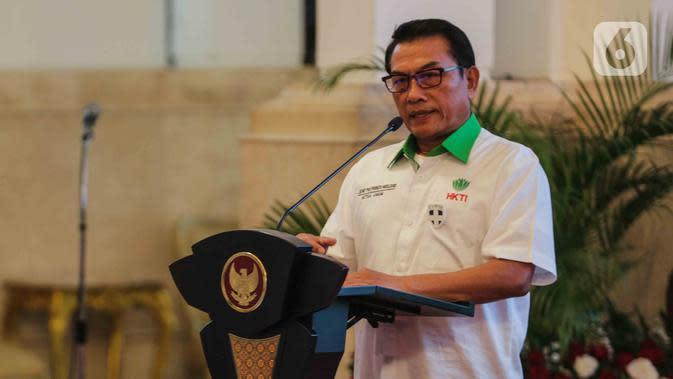 Ketua Umum Himpunan Kerukunan Tani Indonesia (HKTI) Moeldoko memberikan sambutan saat pembukaan Asian Agriculture and Food Forum (ASAFF) 2020 di Istana Negara, Jakarta, Rabu (12/3/2020). Perhelatan tersebut dibuka langsung oleh Presiden Joko Widodo atau Jokowi. (Liputan6.com/Faizal Fanani)