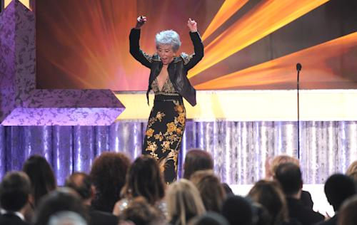 Rita Moreno accepts the Screen Actors Guild 50th Annual Life Achievement Award at the 20th annual Screen Actors Guild Awards at the Shrine Auditorium on Saturday, Jan. 18, 2014, in Los Angeles. (Photo by Frank Micelotta/Invision/AP)