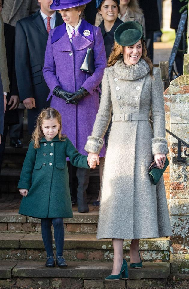 <p>Making her first official appearance at the Christmas Day church service in coordinating outfits with her mother, the Duchess of Cambridge. <br></p>