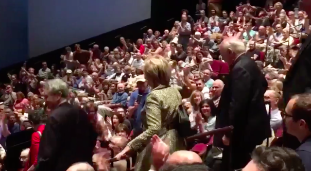 This time Hillary Clinton received a standing ovation ahead of a performance of the play