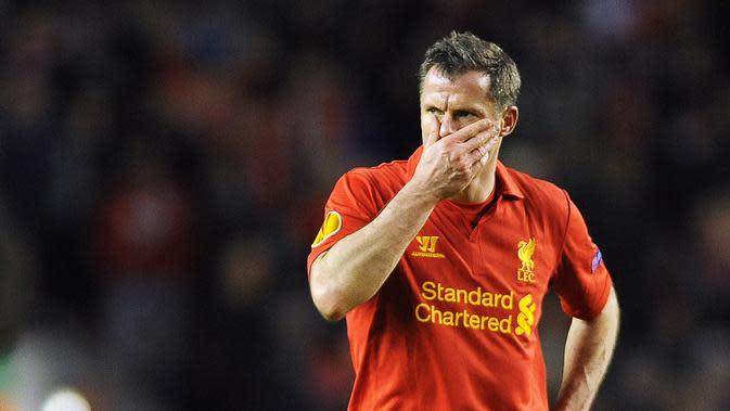 Mantan Pemain Liverpool, Jamie Carragher. (EPA/Peter Powell)