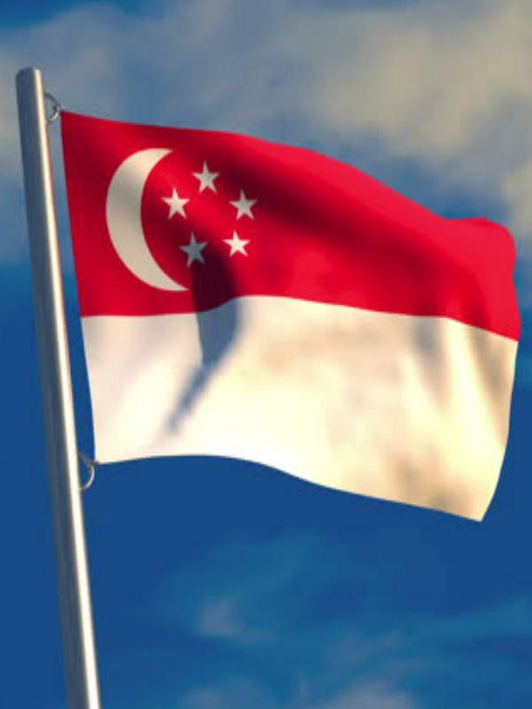 Ilustrasi bendera Singapura - Portrait (Wikimedia Commons)